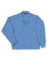 綿100% 男子長袖ジャンパー (前ボタン式) GS2403 上 ライトブルー