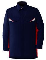 ベルデクセルフレックス 長袖シャツ VES225 上 ネイビー×レッド