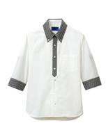 ユニセックス 五分袖シャツ 63388 ホワイト