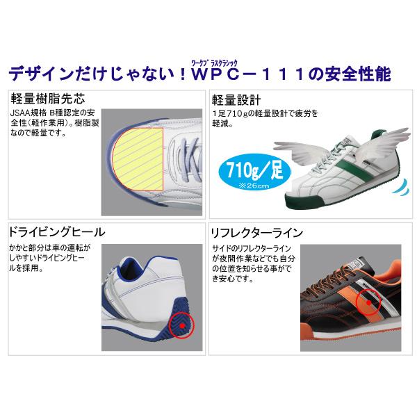 先芯入りスニーカー ワークプラスクラシック WPC−111 ホワイト/グリーン