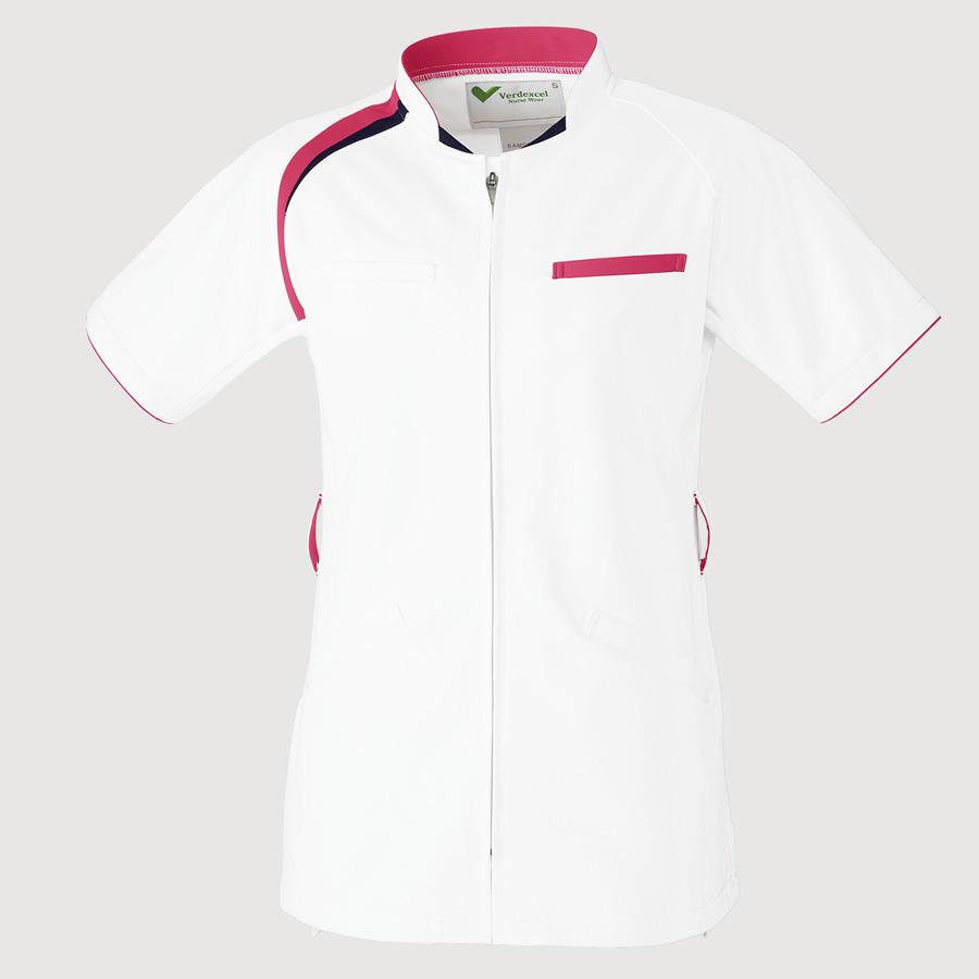 ベルデクセル スクラブ VEM152上 ホワイト×ローズピンク×ダークネイビー
