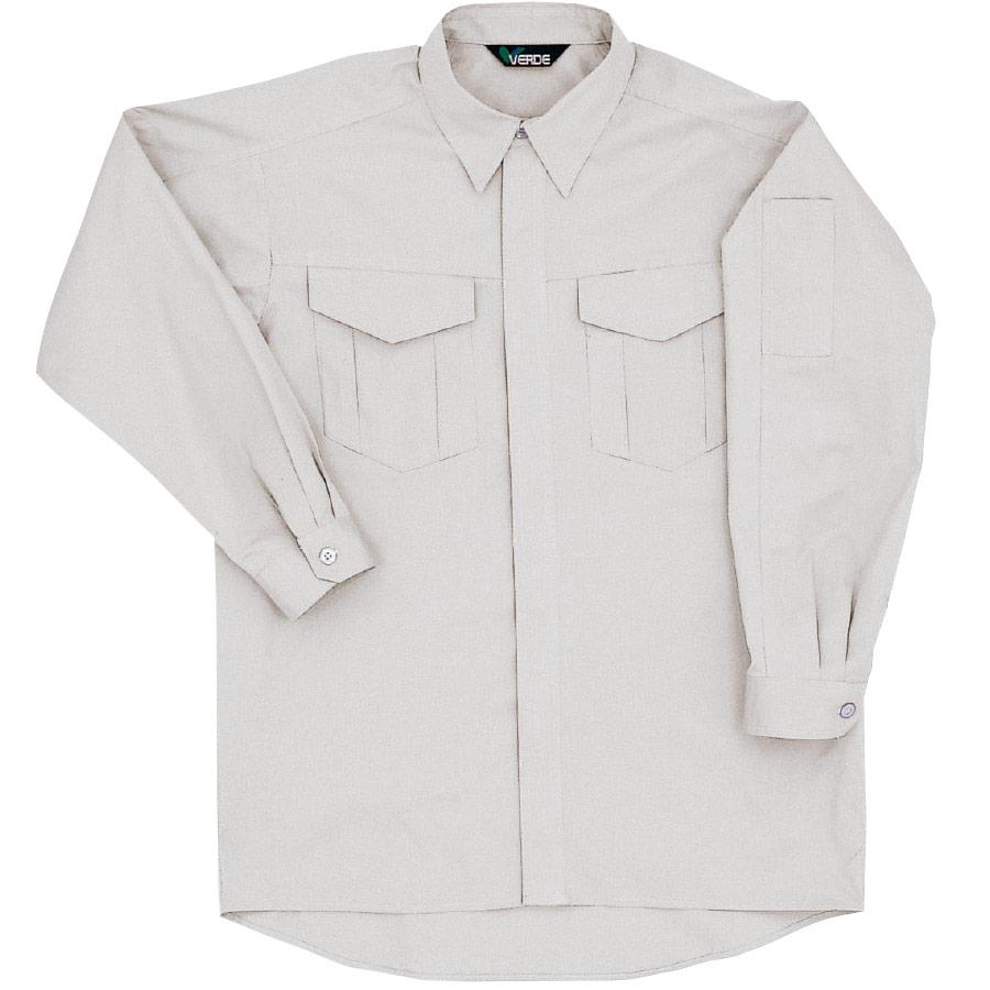 綿100% 男子長袖シャツ GS2371 上 シルバーグレー