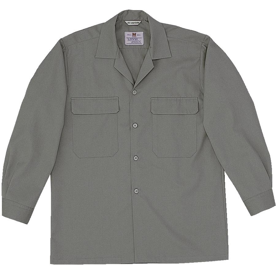 混紡 男子長袖シャツ MS514 上 グレー