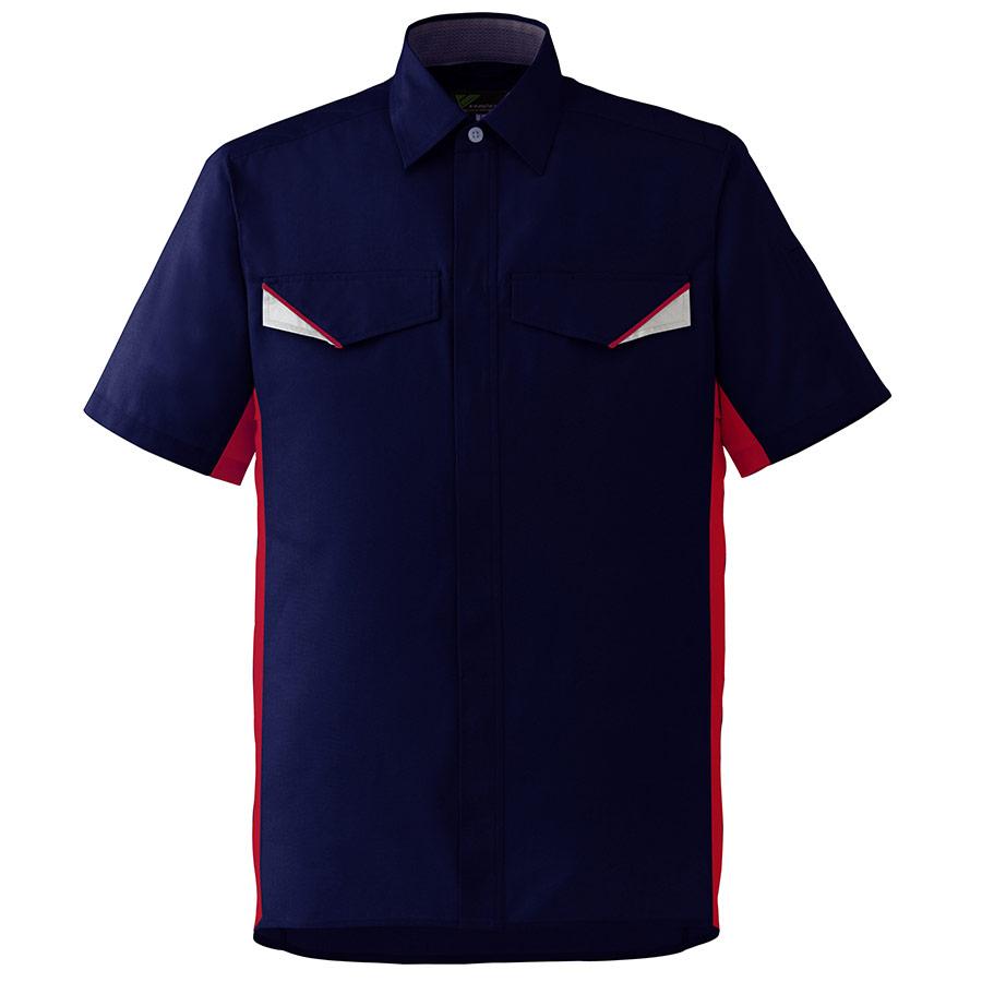 ベルデクセルフレックス 半袖シャツ VES25 上 ネイビー×レッド