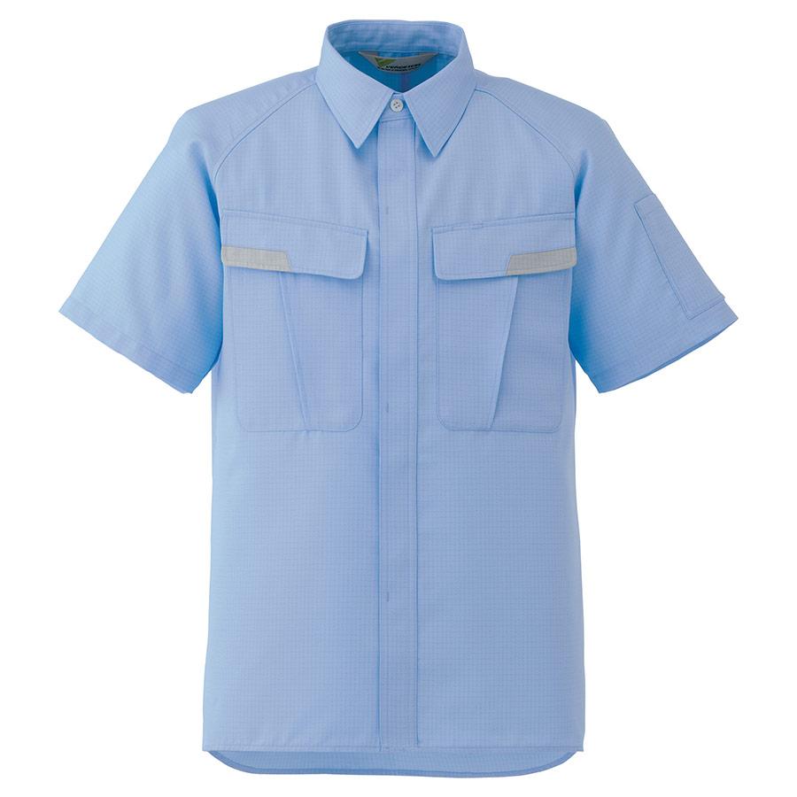 ベルデクセル IEC対応高機能 男女ペア半袖シャツ VES83 上 ブルー