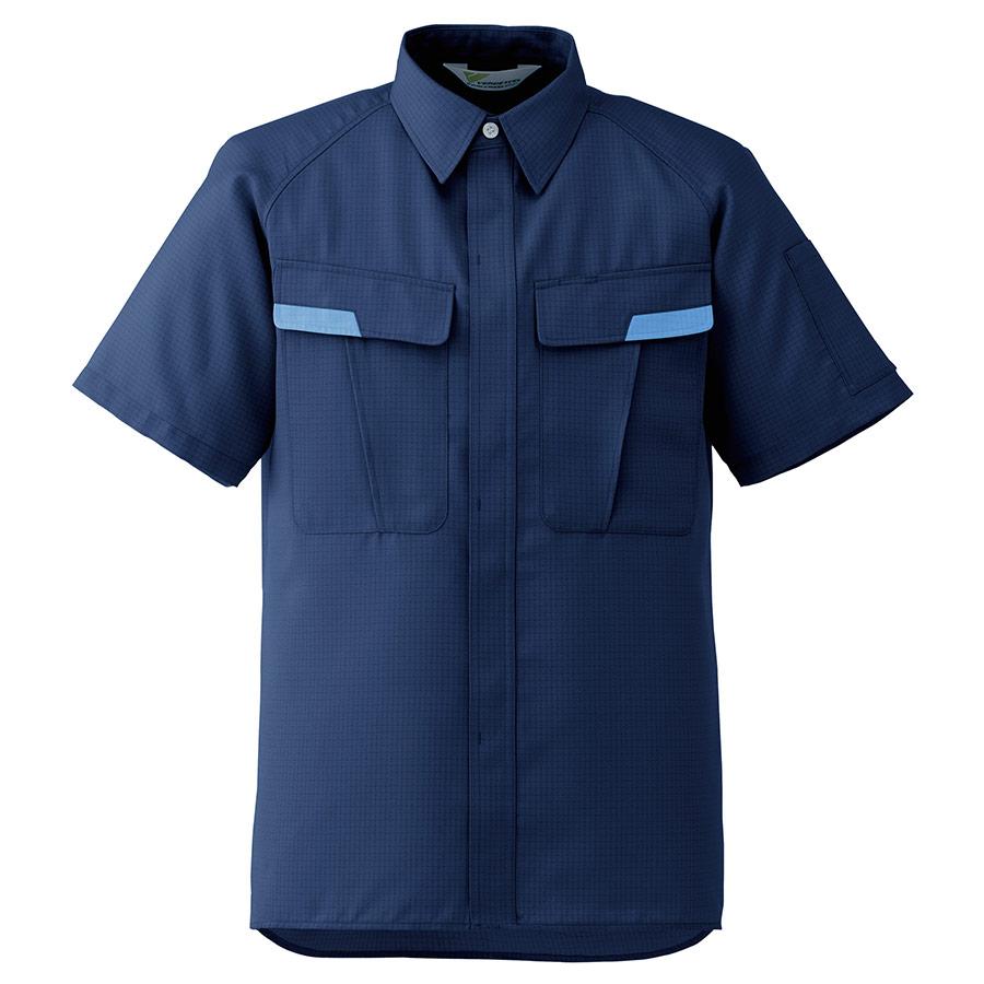 ベルデクセル IEC対応高機能 男女ペア半袖シャツ VES87 上 ネイビー