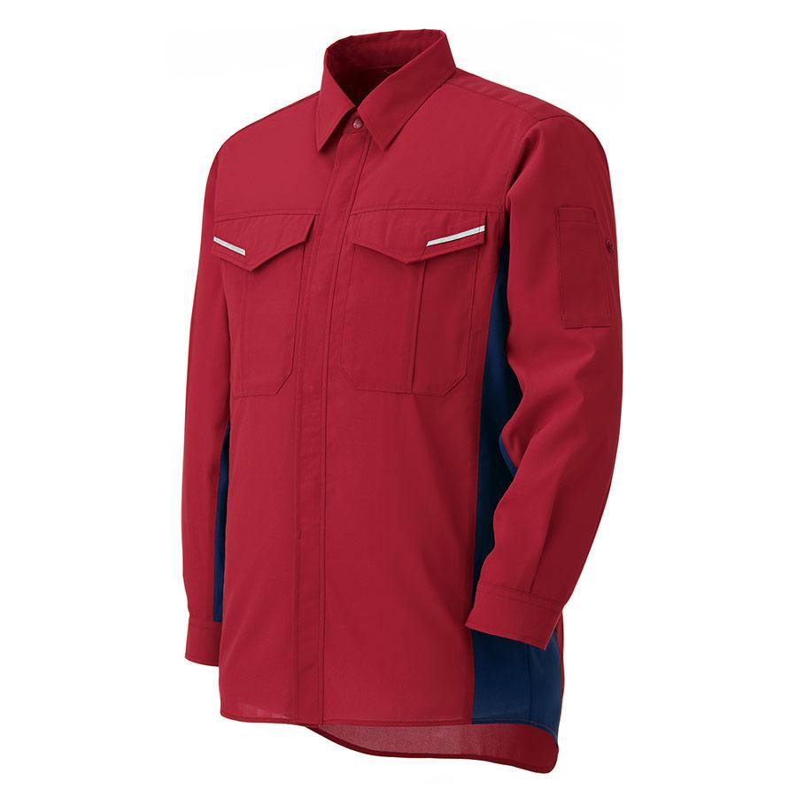 ベルデクセルフレックス 帯電防止 長袖シャツ VES 2185上 レッド