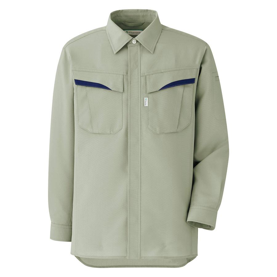 ベルデクセルフレックス プランテックス T/C ストレッチ長袖シャツ VES2496上 アースグリーン