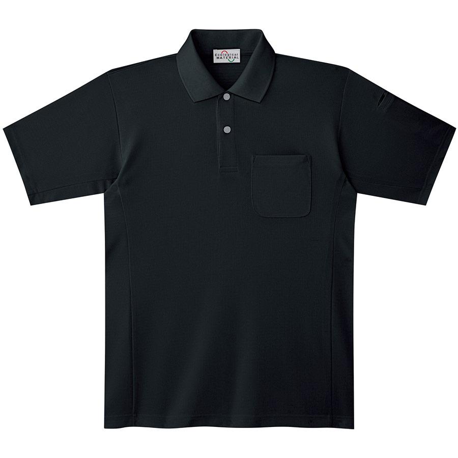 エコ帯電防止 半袖ポロシャツ PS19上 ブラック
