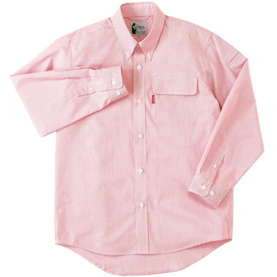 ペア長袖ストライプシャツ RCS2435 上 ピンク