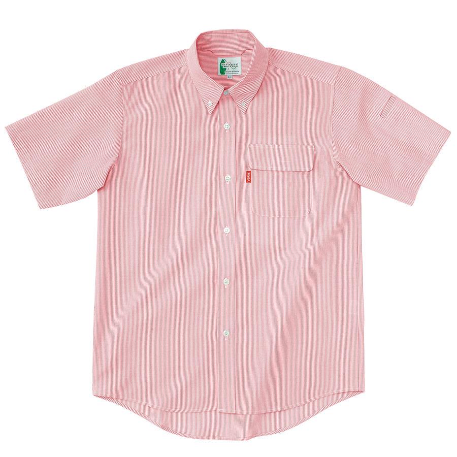 ペア半袖ストライプシャツ RCS435 上 ピンク