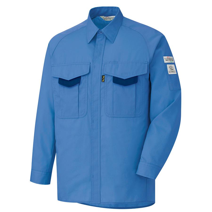 男子長袖シャツ RCS2203 上 ブルー