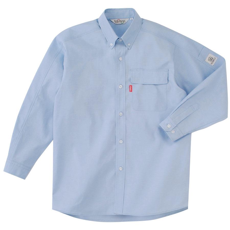 ペア長袖カラーシャツ RCS2313 上 ブルー