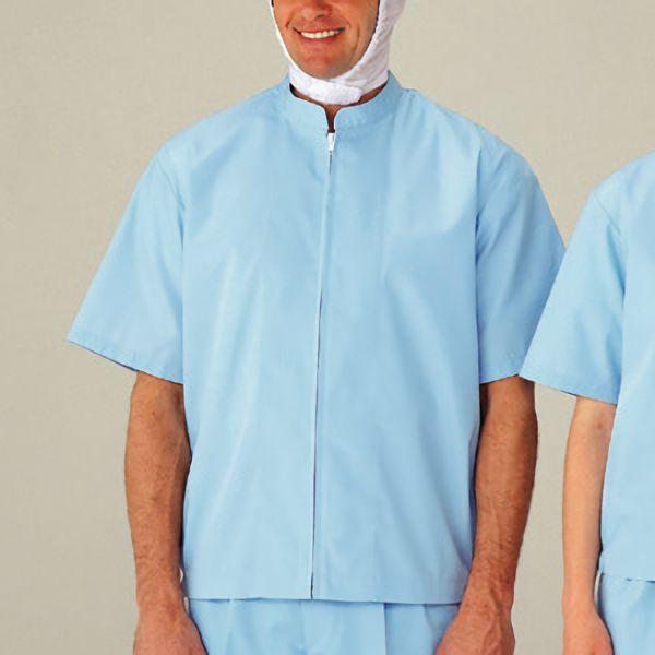 男女共用半袖抗菌ブルゾン MHS10B上 ブルー