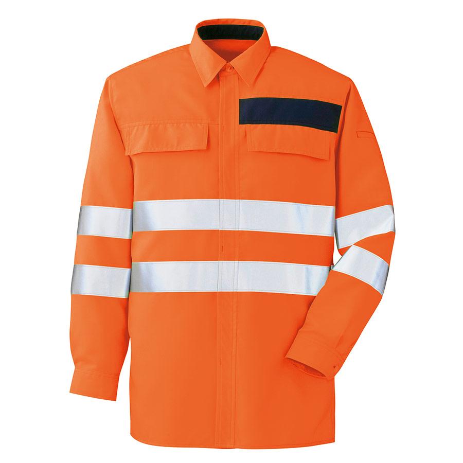 JIS規格適合品 高視認シャツ VES2335 上 オレンジ
