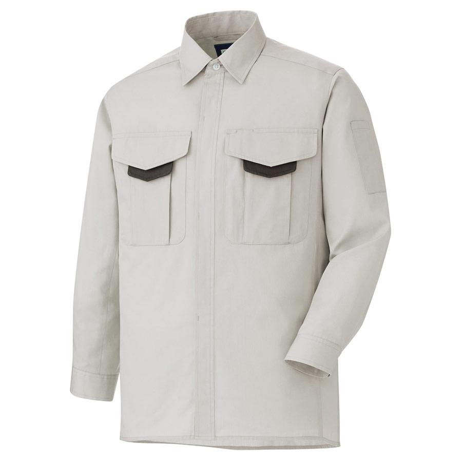 男女共用 長袖シャツ GS2681 上 シルバーグレー (SSS〜5L)