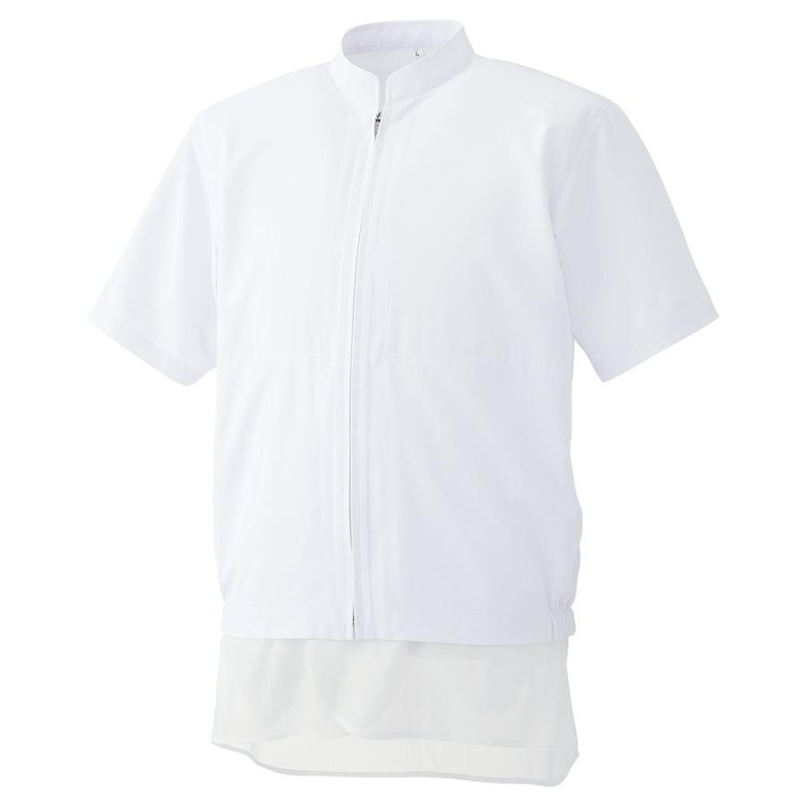 白衣 男女共用半袖ブルゾン MHS319W 上 ホワイト