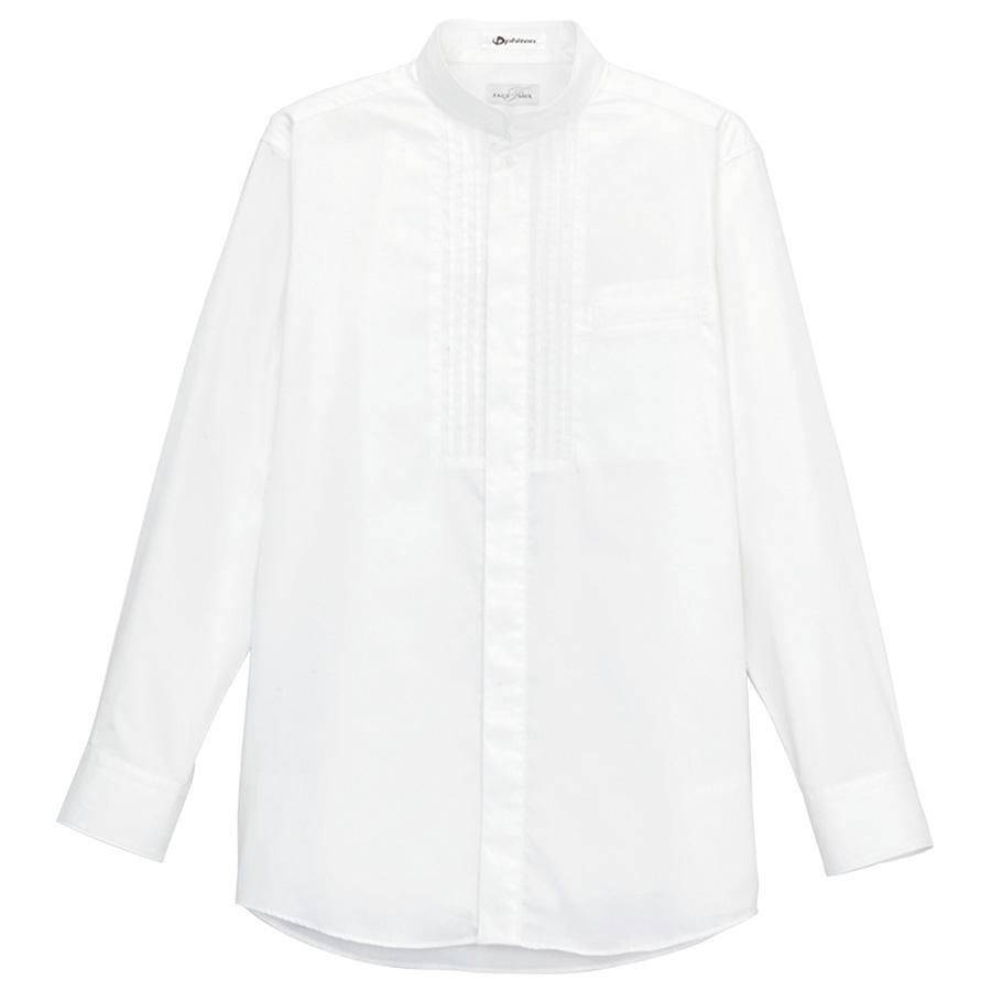メンズ ピンタックスタンド カラー 長袖シャツ FB5001M−15 ホワイト