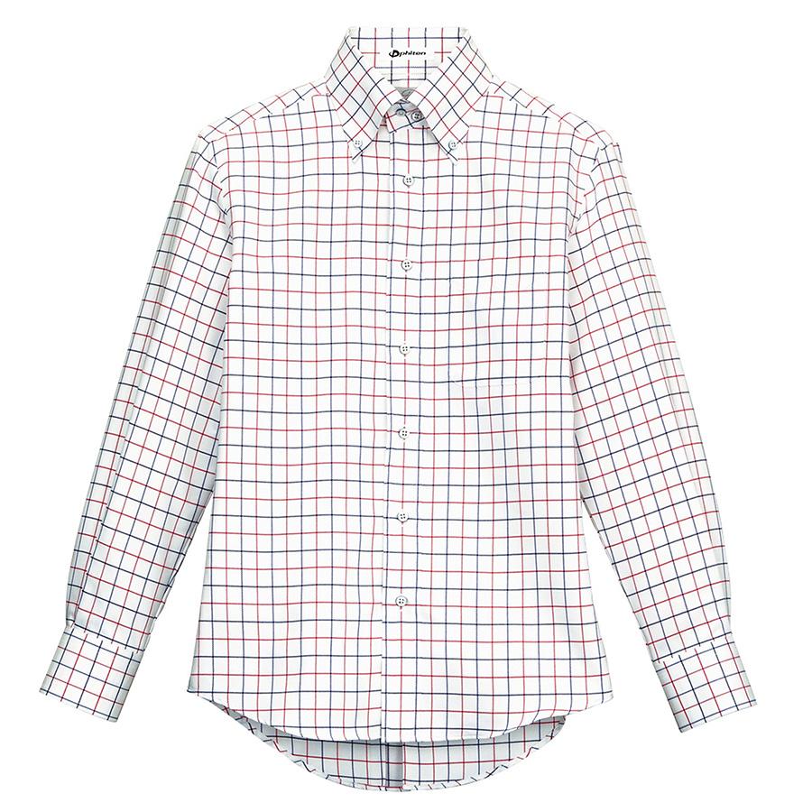 ユニセックス 長袖チェックシャツ FB4501U−3 レッド