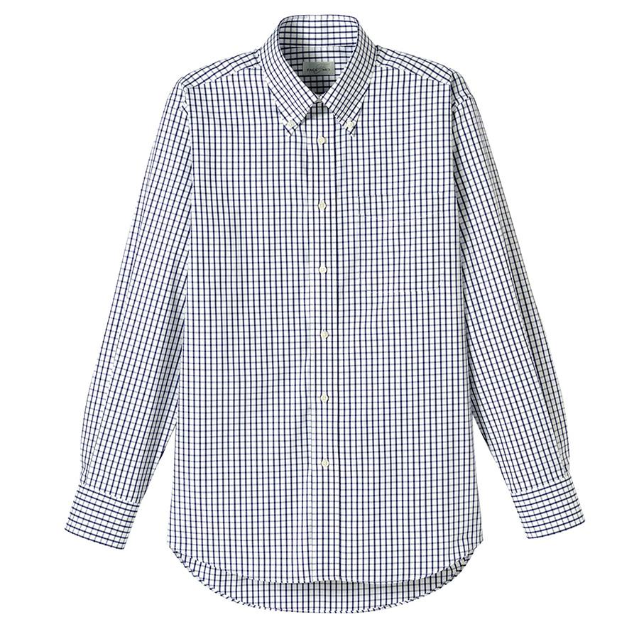 ユニセックス 長袖チェックシャツ FB4506U−8 ネイビー