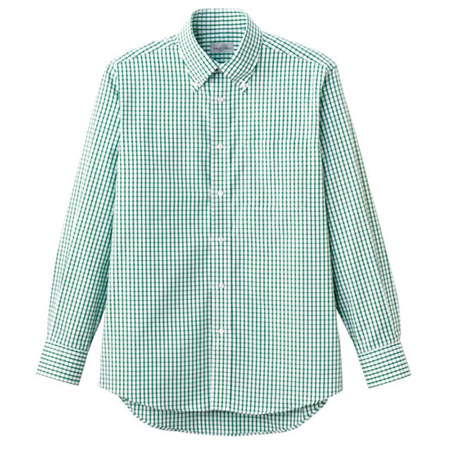 ユニセックス 長袖チェックシャツ FB4506U−4 グリーン