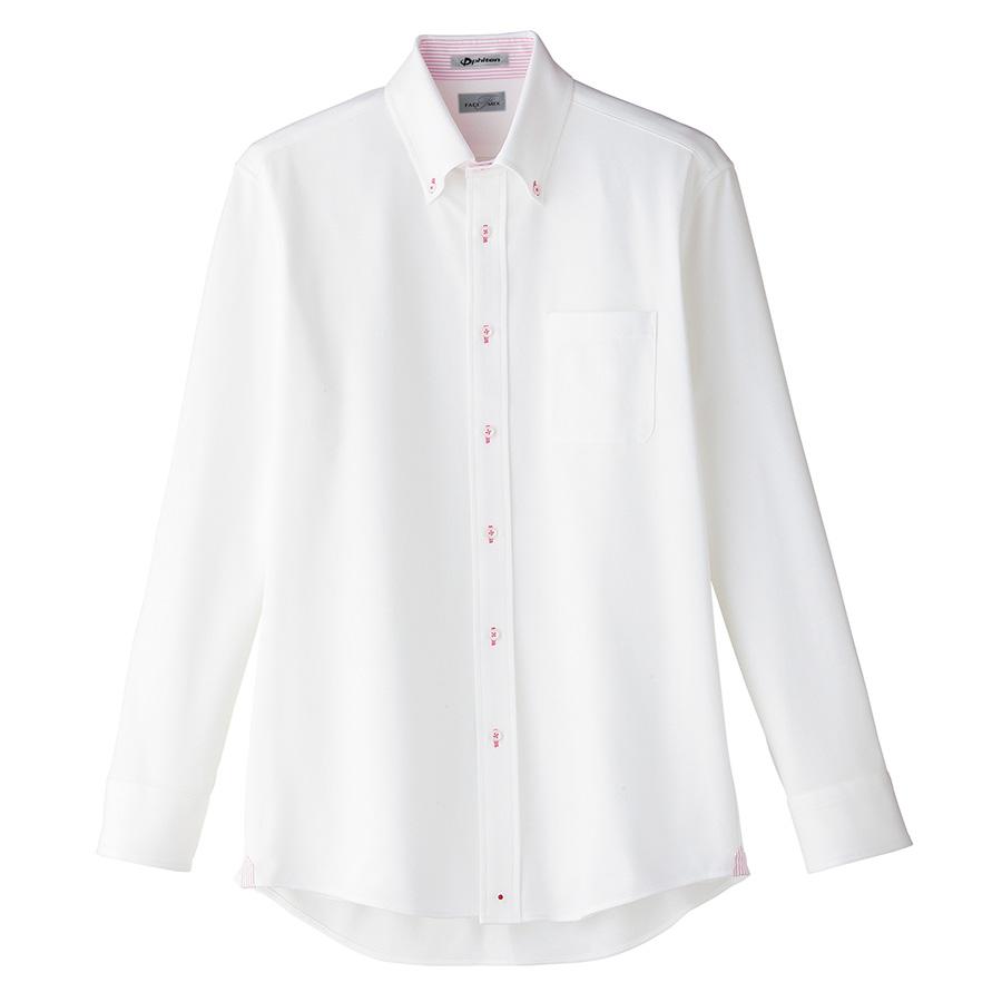 メンズ 吸水速乾 ニット 長袖シャツ FB5026M−9 台衿裏:ピンク