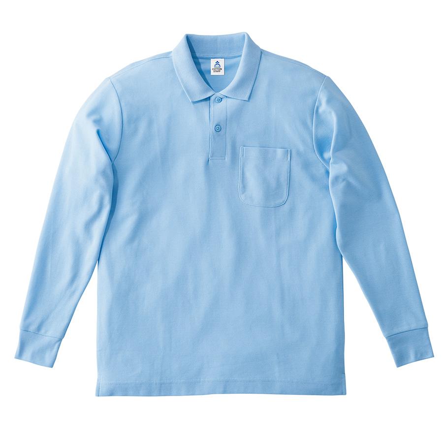 鹿の子ドライ長袖ポロシャツ MS3115−6 サックス
