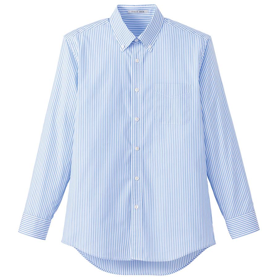 メンズ ストライプ調温長袖シャツ FB5030M−7 ブルー