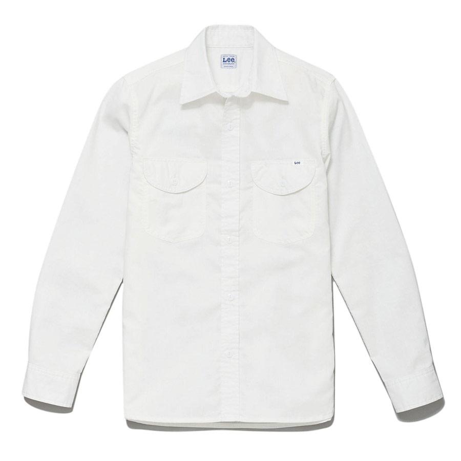 メンズ シャンブレー長袖シャツ LCS46003−15 ホワイト