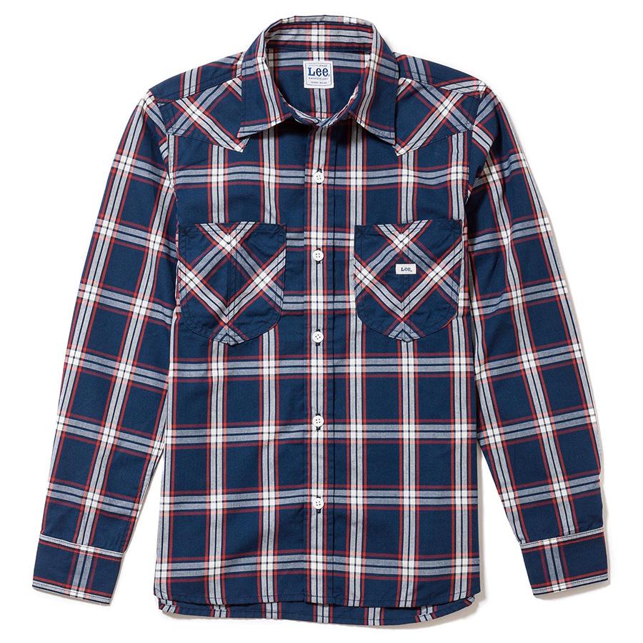 メンズ ウエスタンチェック長袖シャツ LCS46006−28 ネイビー×ホワイト
