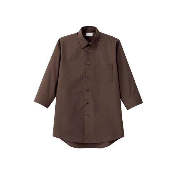 メンズ レギュラーカラー七分袖シャツ FB5042M−5 ブラウン