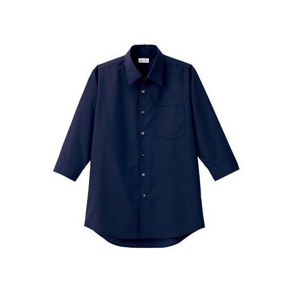 メンズ 開襟七分袖シャツ FB5044M−8 ネイビー