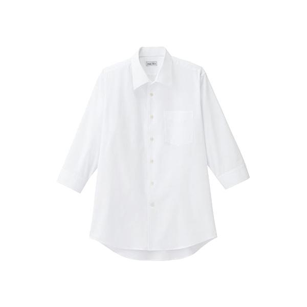 メンズ 開襟七分袖シャツ FB5044M−15 ホワイト