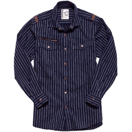 メンズストライプミリタリーシャツ RS4602−28 アースネイビー