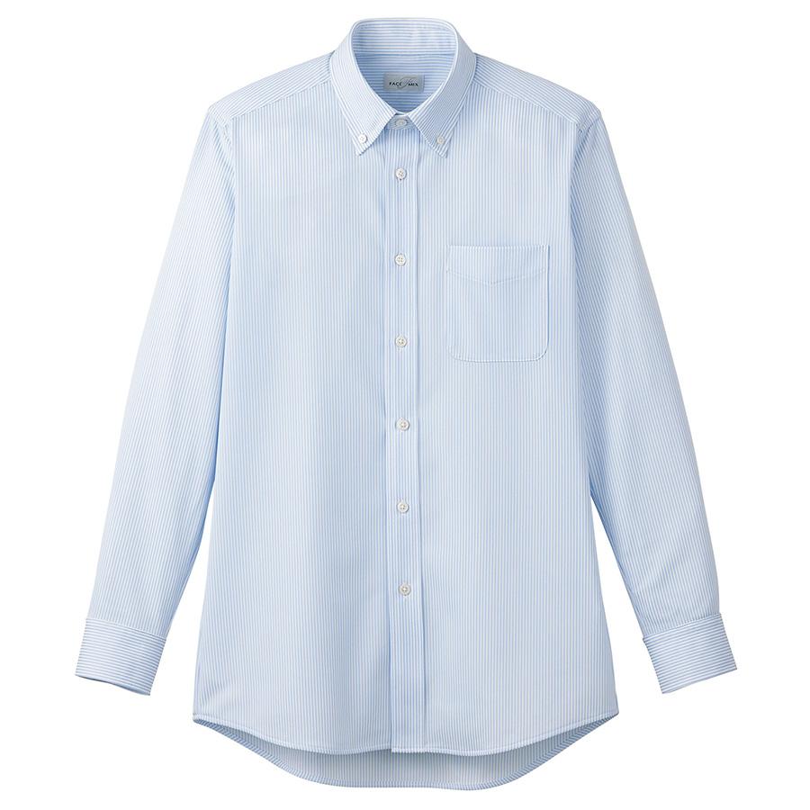 ボタンダウンニット長袖シャツ FB4557U−7 ブルーストライプ