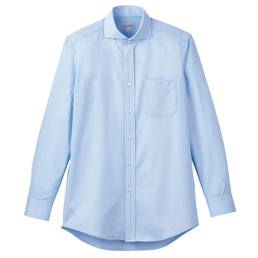 ワイドカラーニット長袖シャツ FB4559U−6 サックス