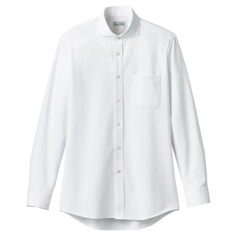 ワイドカラーニット長袖シャツ FB4559U−15 ホワイト