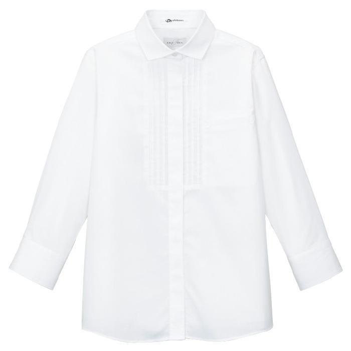 ピンタック ワイドカラー 七分袖 ブラウス FB4002L−15 ホワイト