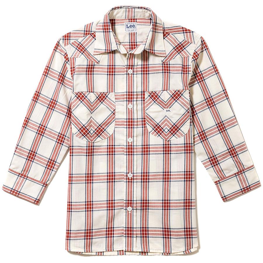 レディース ウエスタンチェック七分袖シャツ LCS43007−3 レッド