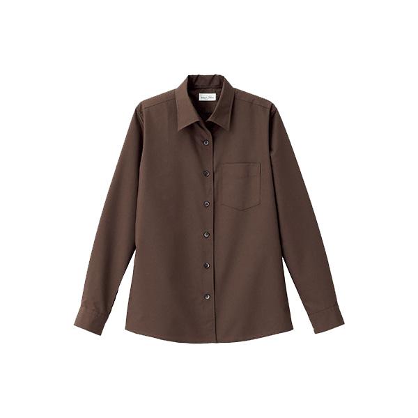 レディス 開襟長袖ブラウス FB4038L−5 ブラウン