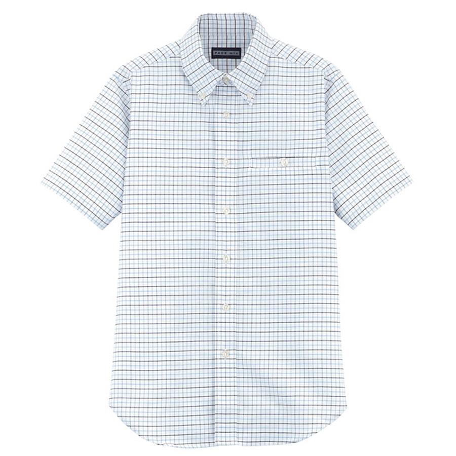 ユニセックス 半袖チェックシャツ FB487U−7 ブルーチェック