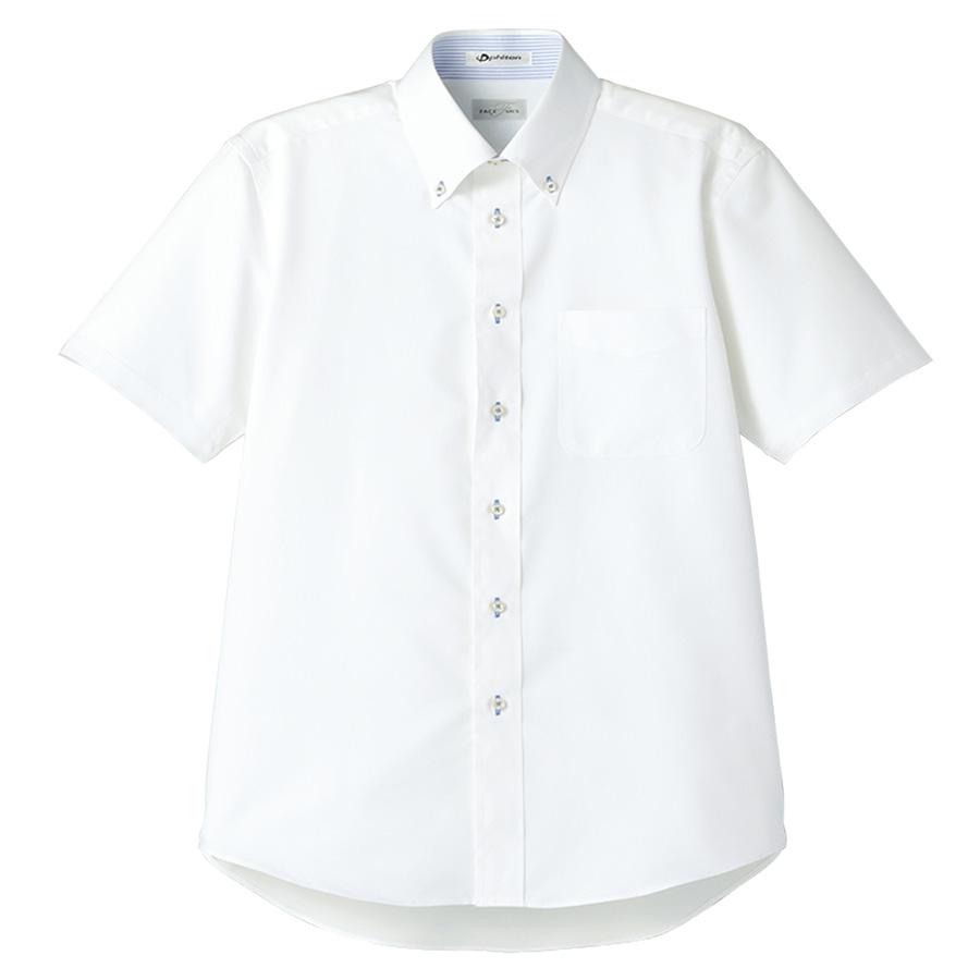 メンズ 半袖シャツ FB5013M−7 ホワイト (台衿裏:ブルー)