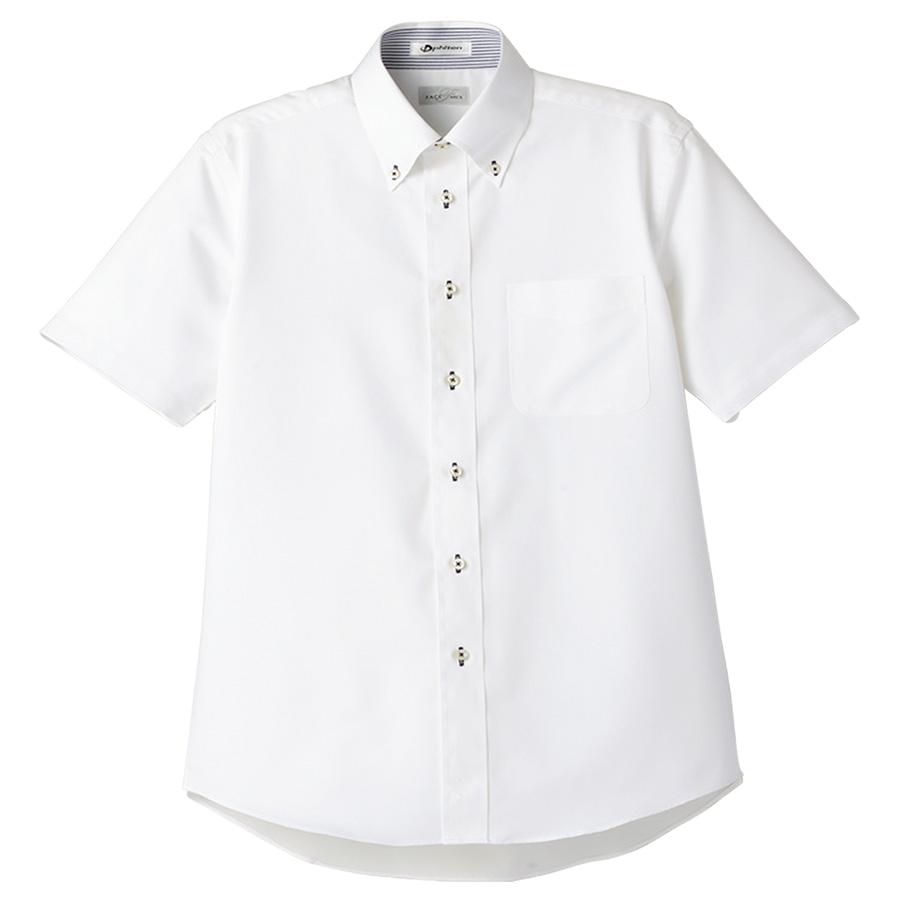 メンズ 半袖シャツ FB5013M−8 ホワイト (台衿裏:ネイビー)