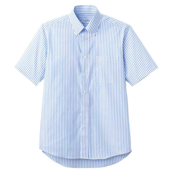ユニセックス 半袖ストライプシャツ FB4509U−7 ブルー