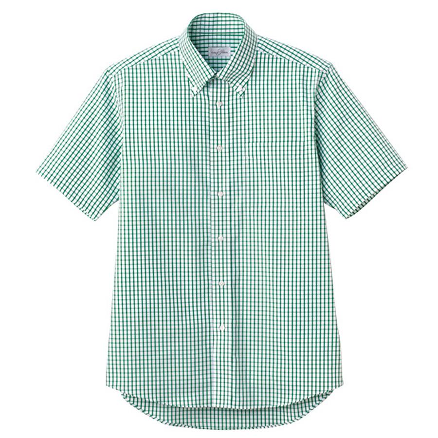 ユニセックス 半袖チェックシャツ FB4507U−4 グリーン