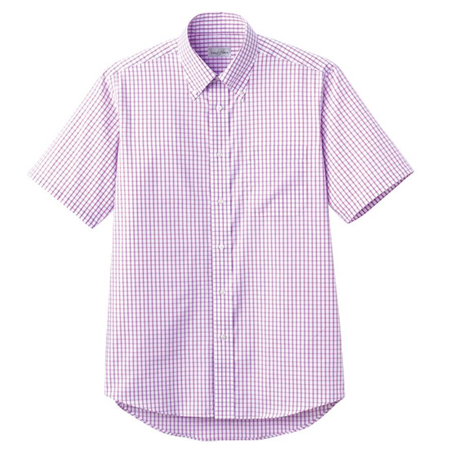 ユニセックス 半袖チェックシャツ FB4507U−19 パープル