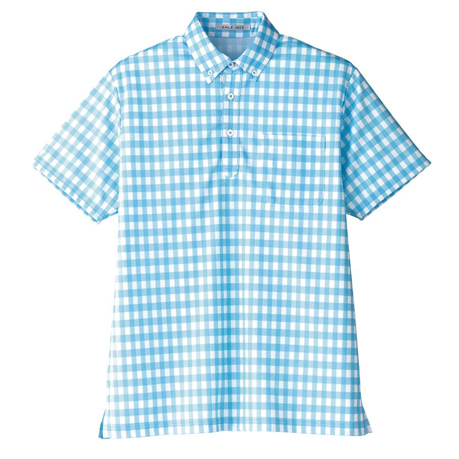 チェックプリント ポロシャツ FB4523U−7 ブルー (SS〜4L)