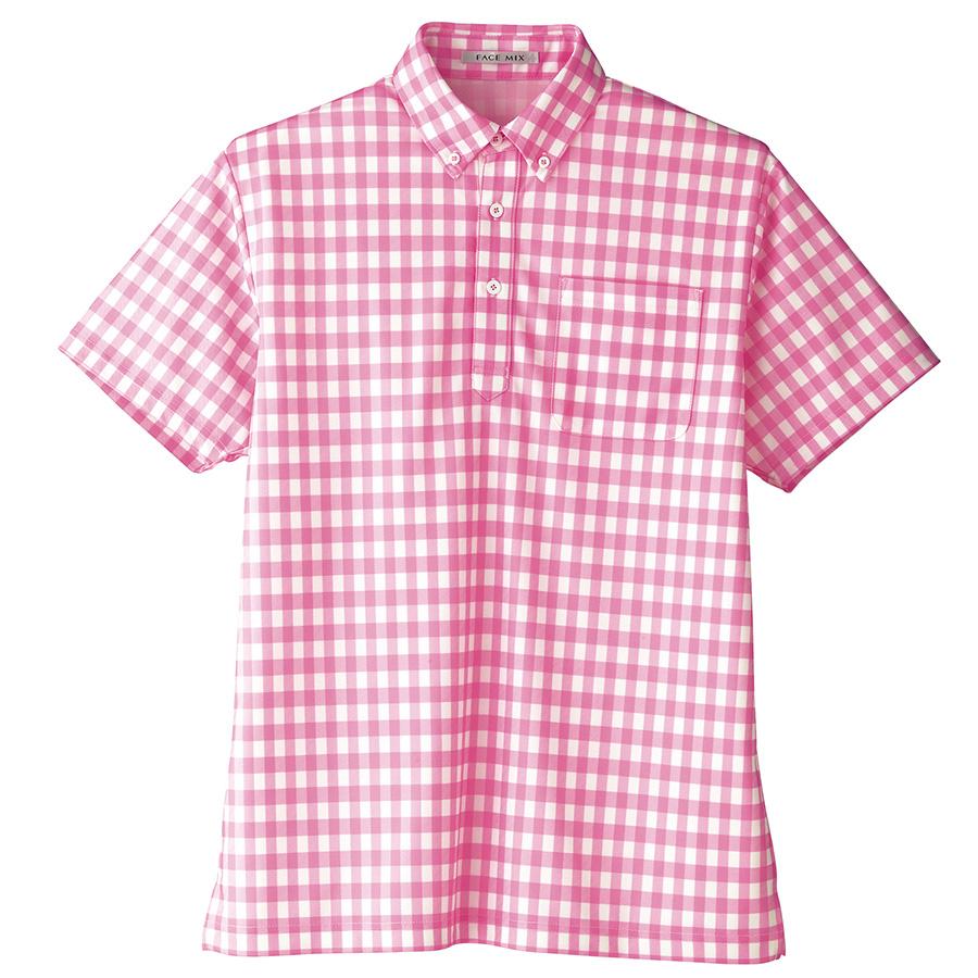 チェックプリント ポロシャツ FB4523U−9 ピンク (SS〜4L)