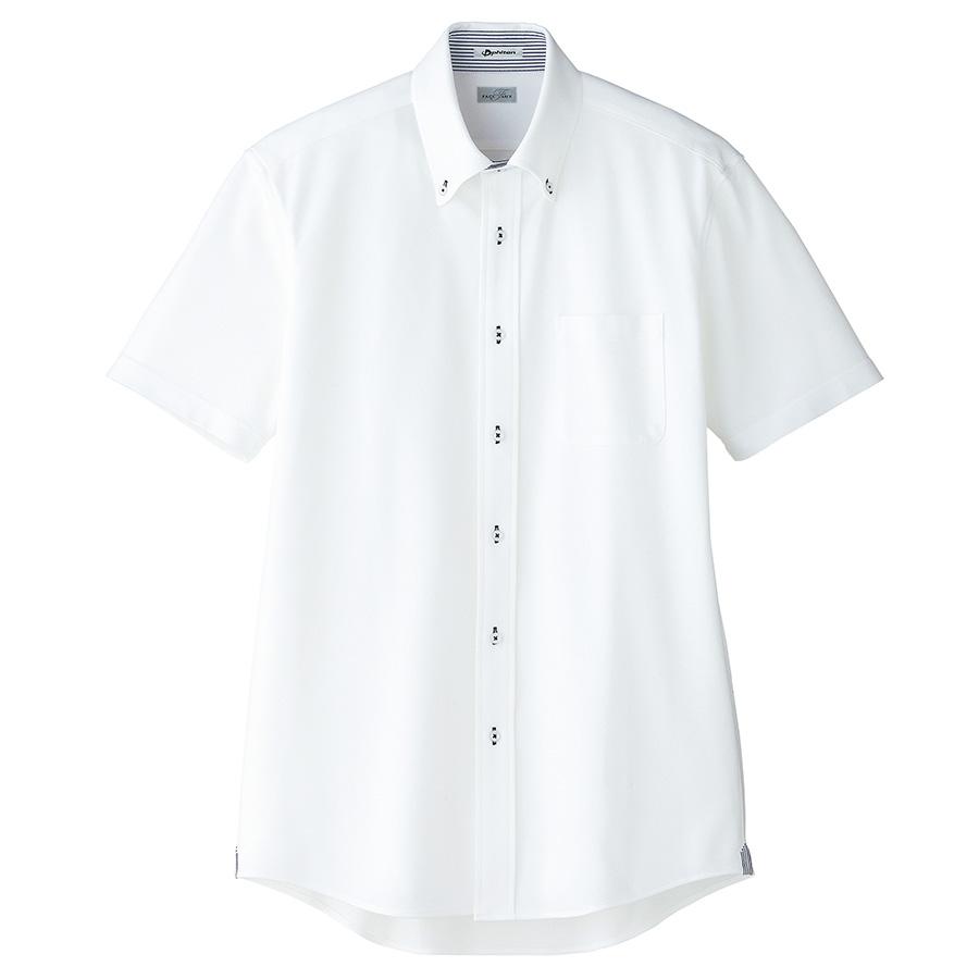 メンズ 吸水速乾 ニット半袖シャツ FB5027M−8 台衿裏:ネイビー