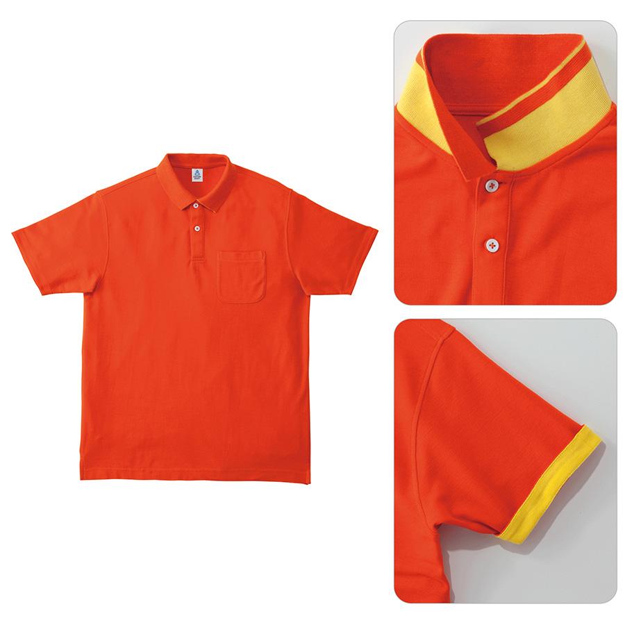 2WAYカラーポロシャツ MS3116−13 オレンジ